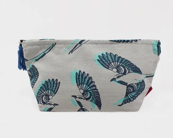 Grey  Washbag - 2 sizes - Bird design - large or small -  - Toiletry bag - cosmetic bag  - cotton washbag - screen printed
