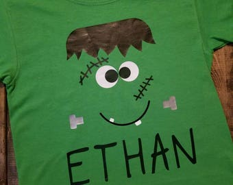Personalized Halloween Frankenstein Shirt great gift for kids