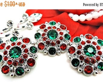 20% SALE Christmas Red And Green Rhinestone Buttons Large Vintage Style Silver Acrylic Rhinestone Buttons Garment Buttons 28mm 5051 3 6