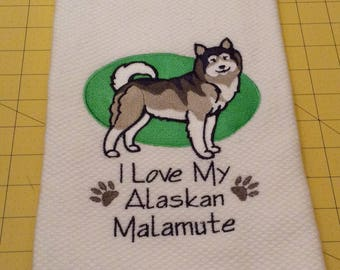 I Love My Alaskan Malamute Williams Sonoma Embroidered Kitchen Hand Towel 100% cotton, 20 x 30