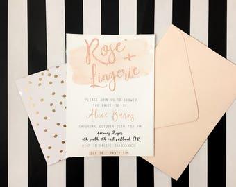 Printable Rose + Lingerie Shower Invitation