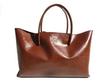 XXL Leather Shopper Large leather bag XXL shopper Ledershopper used look cognac handmade