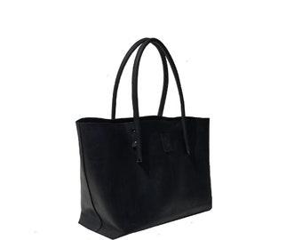 Black large leather bag shopping bag Ledershopper shopper big used look handmade