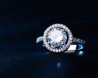 Hearts & Arrows Cut Round AAA Cubic Zircon Rings Jewelry