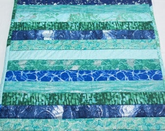 Blue/green batik table runner
