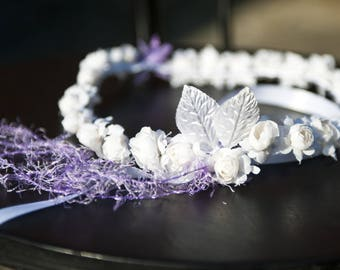 Delicate white and purple flower Crown