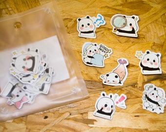Stickers petits pandas kawaii