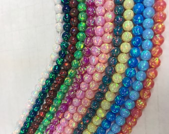 5MM rd beads Synthetic opal assorted colors