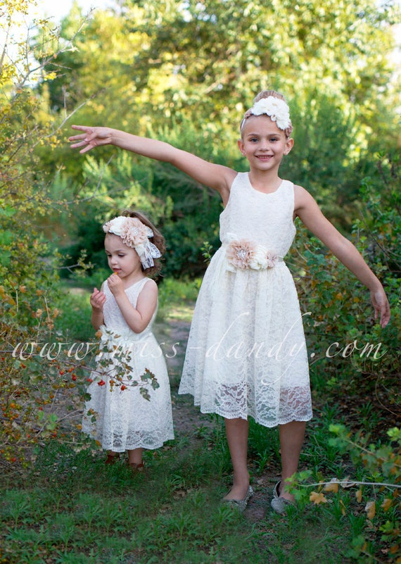 Ivory Flower Girl Dress, Flower Girl Dress, Ivory Lace Girl Dress, Rustic Ivory Flower Girl,Junior Bridesmaid Dress,Country Lace Girls Dress