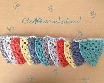 Children's room decoration - Bunting multicolored crochet - made-to-order
