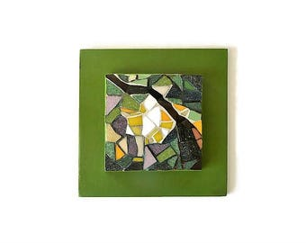 Small green and yellow mosaic table