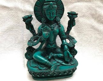Laxmi- 5 inches tall Rasin Status in Turquoise finish made in Nepal