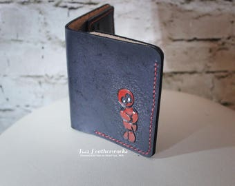 Leather wallet, bi-fold wallet with bill slot, hand made, hand stitched, Deadpool inspired