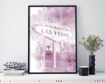Las Vegas, Nevada Watercolour Print Wall Art   4x6 5x7 A4 A3 A2