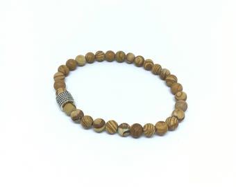 Elegant wood looking beads bracelet