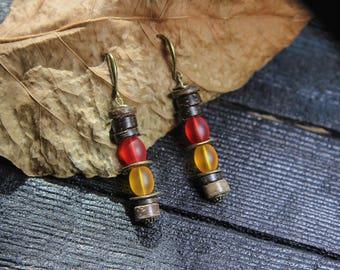 Boho Earrings Orange Earrings Yellow Earrings Red Earrings Dangle Long  Earrings Boho Chic Bohemian Earrings Jewelry Drop earrings Ethnic