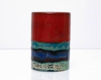 Vintage German Ceramic Cup / Vase / Pen Holder in Red Blue Turquoise