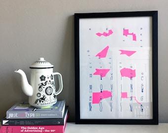 Keep Moving 3 - Pink/Blue Risograph