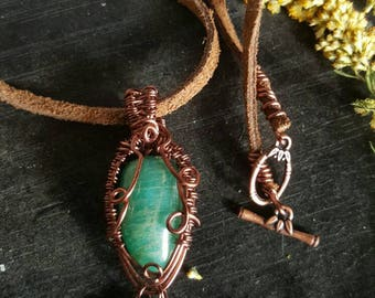 Gift for her // Boho Gypsy Jewelry // Amazonite & Goldstone Necklace-  wire wrap pendant on matching handmade vegan friendly necklace