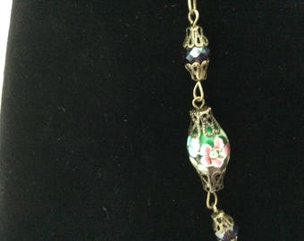 """Vintage Necklace, Floral Purple and Green Lampwork Glass Beaded, 21"""" Long"""
