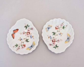 Vintage Porcelain Limoges Shell Dishes, Floral with Butterflies, Pair, France