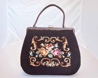 Vintage Needlepoint Purse/Handbag with Roses