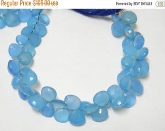 8 inch strand-- 9 - 10 mm approx-- Blue Chalcedony Faceted Heart Briolettes