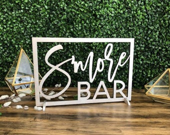 S'more Bar Wood Sign || smore station sign smore wedding favor smores station wedding smore thanks smores sign smores bar sign 03-002-070