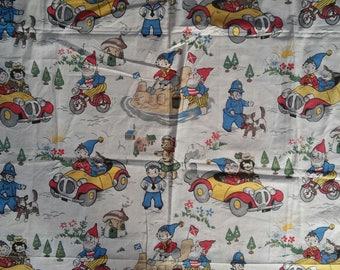 Vintage Noddy Fothergay cotton curtain fabric 1964