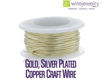 Gold, Silver Plated Copper Craft Wire, Round, Various Gauges and Lengths