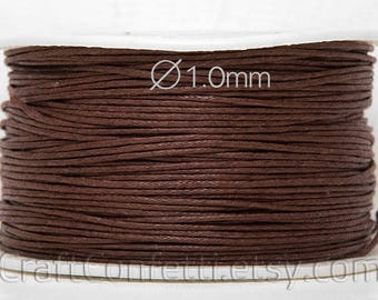 Brown cotton cord 1mm for bracelet Brown craft cord Brown cord Beading thin cord Cotton cord for jewelry String  DIY jewelry / 5 meters