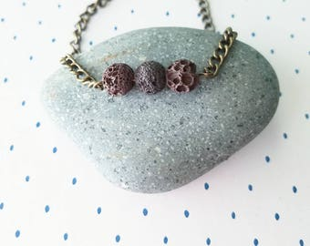 Dainty Brown Lava Stone Bracelet