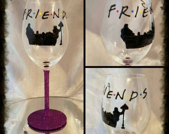 Handpainted FRIENDS wine glass