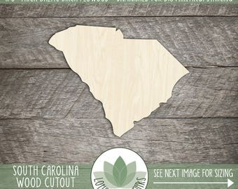 Wood South Carolina Shape Cut Out, Unfinished DIY South Carolina Wood Shape, Laser Cut State Shapes, Many Size Options