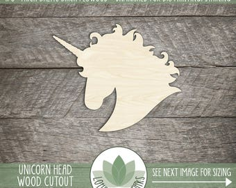 Unicorn Head Wood Shape Cut Out, Wooden Unicorn, Unicorn Party Decorations, Party Favor, Laser Cut Shapes For DIY Projects