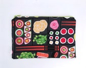 Bento Box Sushi Print Zipper Pouch, Pencil Pouch, Make-up Bag, Cosmetics Case, for the organized Woman, Teen, Girl, Purse, Diaper bag