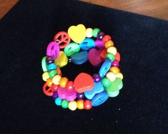 Peace Signs, Hearts  and Rainbows memory wire Bracelet, Med/Large (#BRAC10)