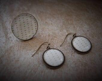 Set ring + earrings soft white + green