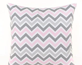 SALE ENDS SOON Pink and Gray Zig Zag Pillow Cover, Chevron Throw Pillow Cover, Nursery Decor, Baby Pink Pillow, Gray Nursery Pillow