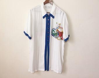 Vintage oversized sheer white designer blouse with Tennis emblem Anthea Crawford XL