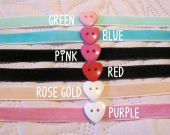 heart button chokers 6 colors options