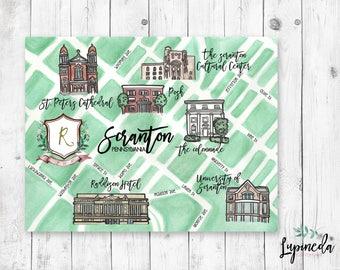 wedding map, watercolor wedding map, Custom Wedding map, personalized wedding map, watercolor map,
