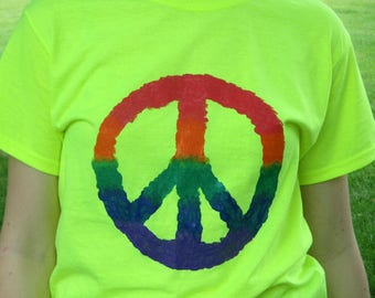 Rainbow Peace tee shirt hand painted