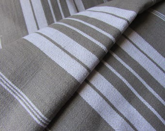 Long length UNUSED old stock vintage French herringbone gustavian grey/white stripe ticking fabric 8FT!