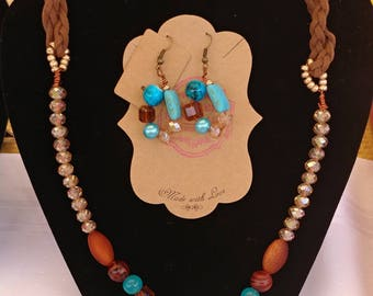 Hydrandea: Turquoise,gold and brown beaded necklace and earring set