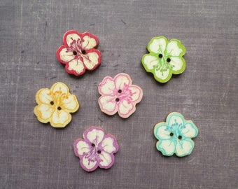 buttons 10 wood exotic flower shape