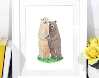 Animal Portrait - Custom Family - Personalized Family Portrait - Couple Portrait - Personalized Drawing - Valentine Gift - Family Gift