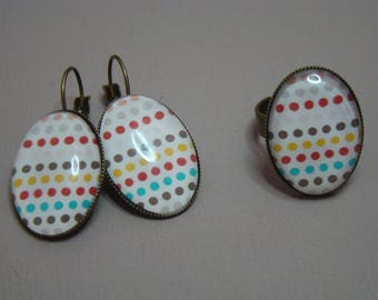 Polka dot earrings and ring set