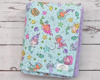 Baby Blanket Personalized Mermaid-Mermaid Baby Minky Blanket-Girl Mermaid Blanket-Personalized Baby Blanket Girl-Mermaid Minky Baby Blanket