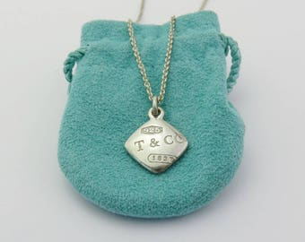 Authentic TIFFANY & CO Sterling Silver 1837 Square Pendant Necklace